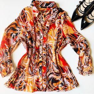 SIONI Red Orange Ruffle Sleeve Top Shirt